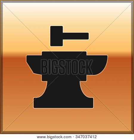 Black Anvil For Blacksmithing And Hammer Icon Isolated On Gold Background. Metal Forging. Forge Tool