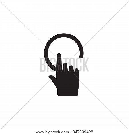 Click Hand Icon, Click Hand Icon Vector, Flat Click Hand Icon Design. White Click Hand Icon On White