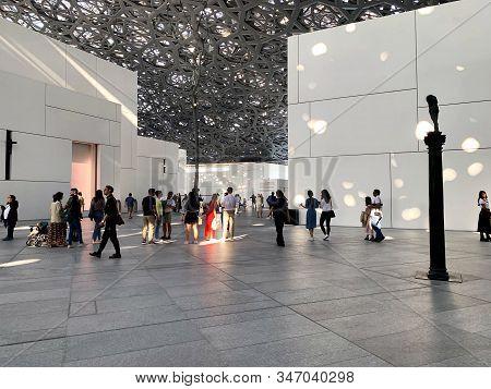 Abu Dhabi / Uae - January 3, 2019: Louvre Museum In Abu Dhabi. View Of Beautiful Louvre Museum Inter