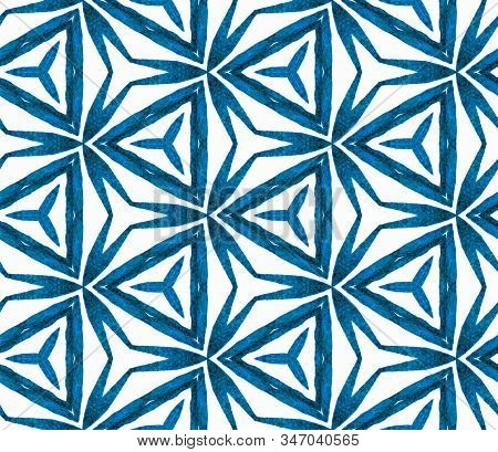 Blue Tropical Seamless Pattern. Hand Drawn Watercolor Ornament. Marvelous Repeating Tile. Popular Fa