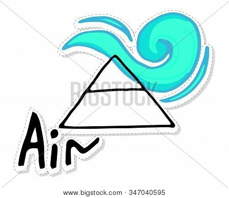 Air Is One Of The Main Elements, State: Gas, Liquid. Medieval Alchemical Sign. Sticker Drawn By Hand
