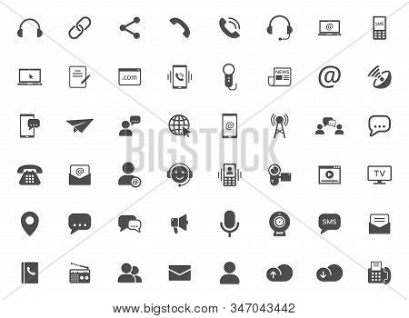 Media Communication Vector Icons Set Isolated On White Background. Internet Communication Concept. C