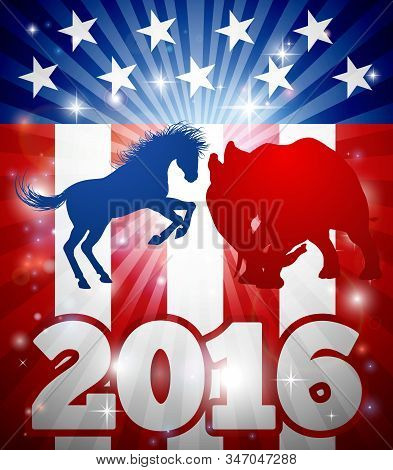 American Democratic And Republican Parties, Blue Donkey And Red Elephant In Silhouette Fighting Each