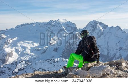 Hiking Skiing View Marmolada Sunset Lonely Mood View Winter Mountain Iltaly Dolomites