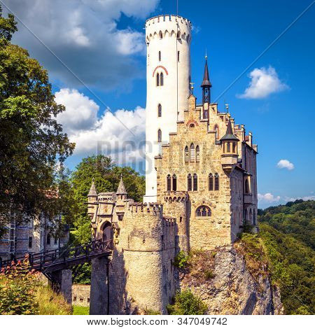 Lichtenstein Castle In Summer, Baden-wurttemberg, Germany. This Famous Castle Is A Landmark Of Germa