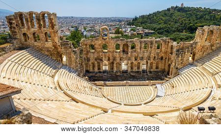 Odeon Of Herodes Atticus At Acropolis Of Athens, Greece. It Is One Of Top Landmarks Of Athens. Panor