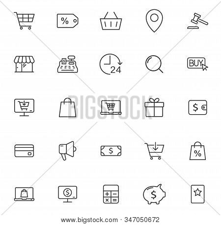 E-commerce Outline Vector Icons Large Set Isolated On White Background. Business Commerce Comcept. E