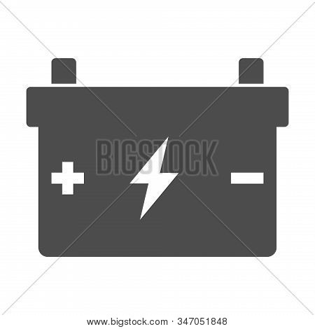 Accumulator Battery With Terminals Lightning And Polarity Plus Minus Signs Icon Isolated On White Ba