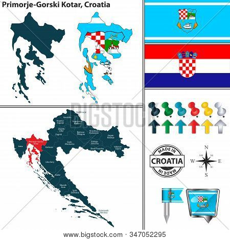 Vector Map Of Primorje Gorski Kotar And Location On Croatian Map