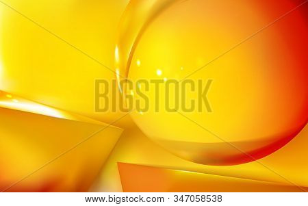 Abstract Realistic Background Glossy Golden Or Yellow Sphere, Two 3d And Pyramid. Reflection, Macro