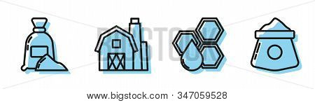 Set Line Honeycomb, Bag Of Flour, Farm House Concept And Bag Of Flour Icon. Vector