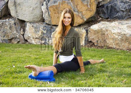 Girl Front Over Split in Park