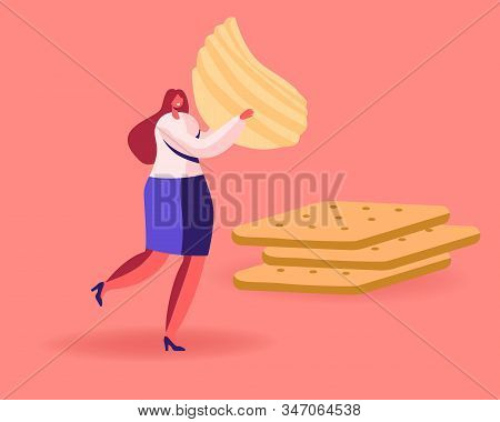 Tiny Female Character Carry Huge Corrugated Potato Chips Passing By Pile Of Cookies Crackers. Snack,