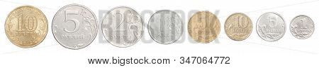 Full Set Of Russian Rubles Coins In A Row Isolated On White Background.