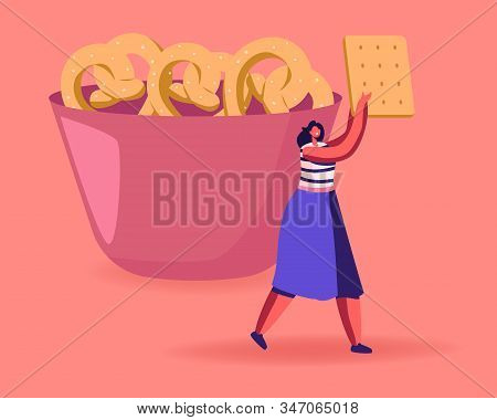 Snack, Fast Food With High Level Of Carb Concept. Tiny Female Character Carry Huge Cookie Cracker Pa