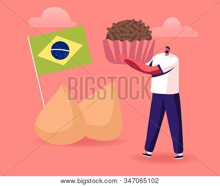 Male Character Holding Huge Brazilian Truffle Candy Brigadeiro With Brazil National Flag And Chicken