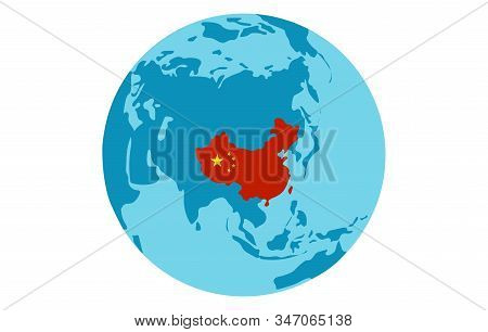 Peoples Republic Of China Country Silhouette On World Map. Globe View From Asia Side With China High