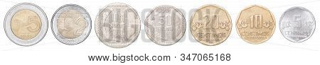 Full Set Of Peruvian Coins In A Row Isolated On White Background.