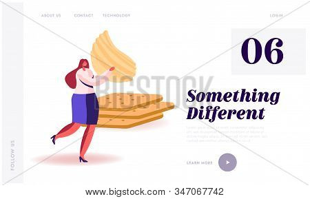 Snack, Fast Food With High Level Of Carb And Calories Unhealthy Nutrition Website Landing Page. Woma