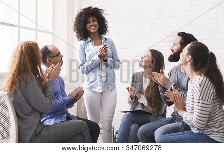 Friendly People Clapping To New Member At Support Group Meeting, Welcoming Black Girl, Celebrating H