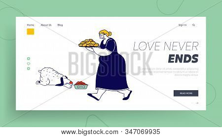 Granny Bake Patties For Family Website Landing Page. Senior Woman Carry Tray With Pile Of Fresh Pies