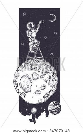 Astronaut Draws A Starry Sky. Astronaut Is Standing On The Stairs.