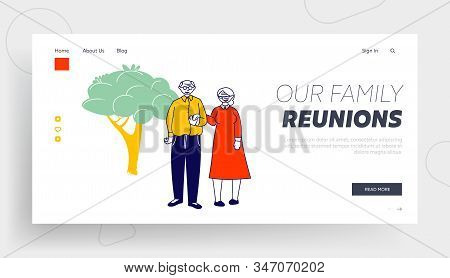 Elderly People Family Love Website Landing Page. Senior Married Couple Holding Hands Stand On Nature