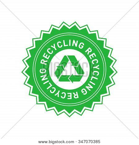 Recycling Green Star Badge With Mobius Strip. Design Element For Packaging Design And Promotional Ma