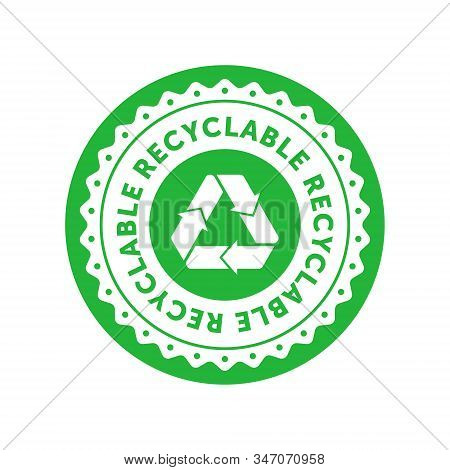 Recyclable Green Circle Badge With Mobius Strip. Design Element For Packaging Design And Promotional