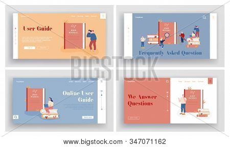 Manual Guide Book Website Landing Page Set. People With Guidance Instruction Or Textbooks. Customers