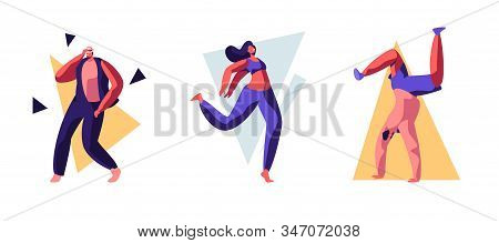 Set Of Young People Dancing On Disco Party. Men And Women In Fashioned Clothing Celebrating Holiday,
