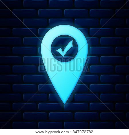 Glowing Neon Map Pointer With Check Mark Icon Isolated On Brick Wall Background. Marker Location Sig