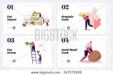 Balanced Keto Diet Eating Website Landing Page Set. Ketogenic Diet Pyramid Diagram, People Eat Produ
