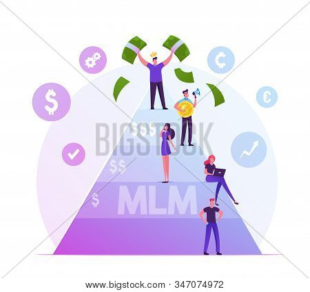 Mlm. Multi Level Marketing Business Concept With People Stand On Different Levels Of Finance Pyramid