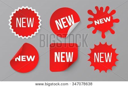 New Sticker Set. Sale Product Red Badge Label. Minimal Sale Banner For Web Store. Vector Image Symbo