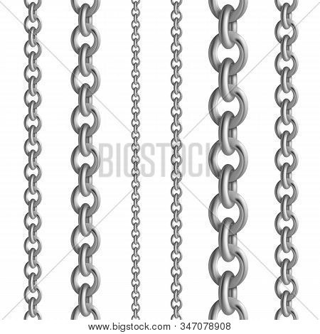 Metal Seamless Chain Collections. Iron Steel Or Silver Chains Set. Vector Illustration Metallic Bord
