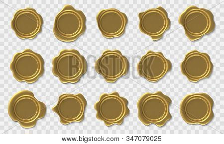 Golden Wax Seal. Envelope Retro Post Stamp, Premium Gold Royal Approval Wax Seals And Security Posta