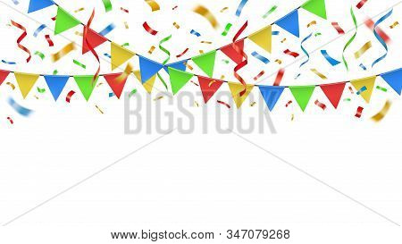Party Confetti And Color Flags. Celebration Decorative Paper Streamers, Birthday Party Banner Confet