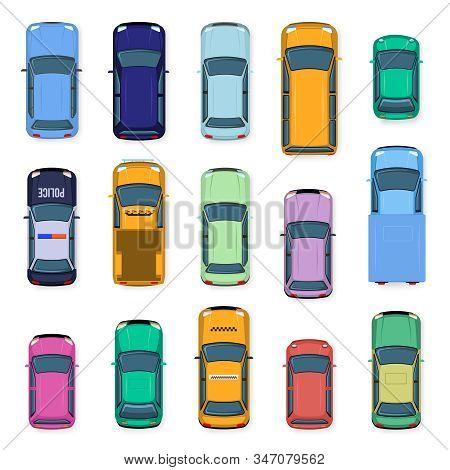 City Car Top View. City Traffic Cars Roof, Street Vehicle Taxi, Police, Subcompact And Jeep Car Abov