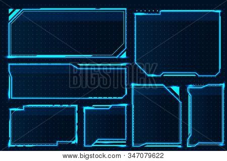 Hud Box. Abstract Game Screen Elements, Futuristic Technology Interface Frame, Sci-fi Military Devic