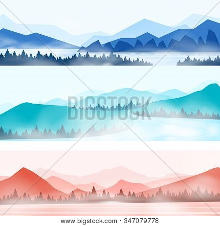 Mountains Landscape. Silhouette Panorama Of Foggy Forest And Snowy Mountain Peaks, Nature Outdoor Pa