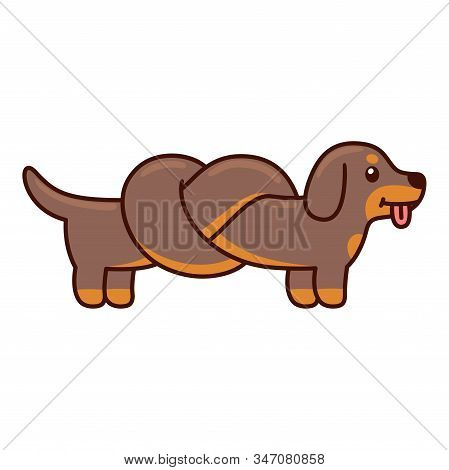 Cute Cartoon Dachshund With Body Tied In Knot, Funny Long Wiener Dog Doodle. Isolated Vector Illustr