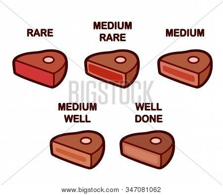 Steak Doneness Icon Set. Medium, Rare And Well Done Meat. Differently Cooked Pieces Of Beef, Isolate
