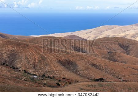 Panoramic View At Landscape From Viewpoint Mirador Morro Velosa On Fuerteventura, Spain With  Multi