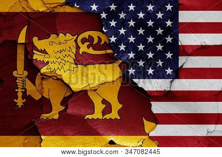 Flags Of Sri Lanka And Usa Painted On Cracked Wall