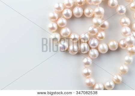Pearl Necklace Background With A String Of Pink Pearls Isolated On White Background - Top View Photo