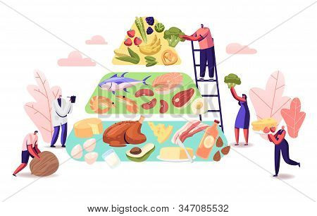 Ketogenic Diet Concept. Characters Set Up Pyramid Of Selection Of Good Fat Sources, Balanced Low-car
