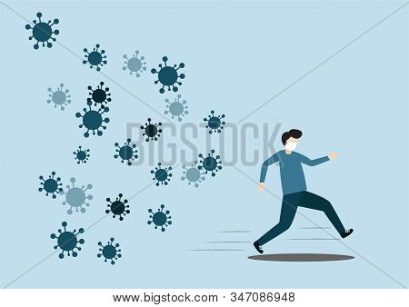 Concept Of The Threat Of Spreading Coronavirus Infection 2019-ncov. Man Running Away From Viruses An