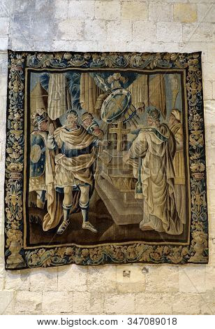 Arles, France - June 27, 2017: Gallery Of 17c Aubusson Tapestries Displayed In Saint-trophime Cathed