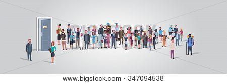 Businesspeople Candidates Standing In Line Queue To Door Office Hiring Job Employment Concept Differ
